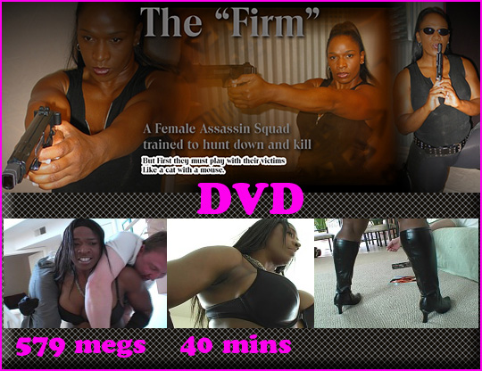 "Afrika as a female assassin in AfrikanAdventure productions DVD ""The Firm""."